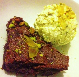 Stem Ginger and Chocolate Brownie with Stem Ginger Ice cream