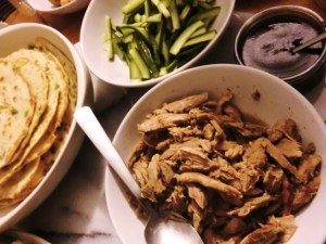 Braised Duck with Spring Onion Pancakes and Pickled Cucumber