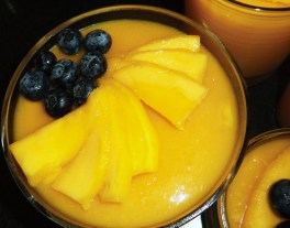 Mango and Coconut Pudding with Fresh Mango and Blueberries