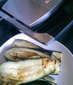 Grilled Aubergine on a panini grill