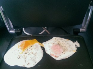 Eggs fried on a panini grill