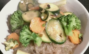 Sweet Potato Noodles with Vegetables in Blackbean Sauce