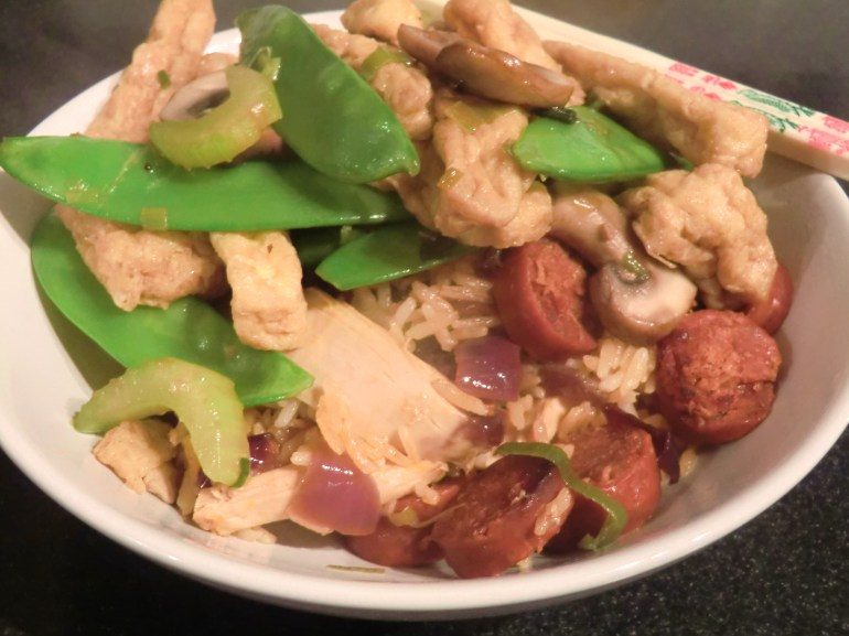 Tofu Stir Fry with Chicken and Chorizo rice
