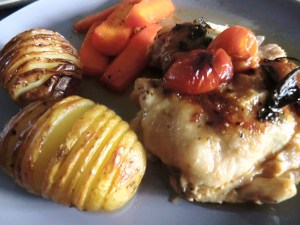 Tomato and Basil Chicken with Hasselback Potatoes
