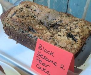 Black Sesame and Pear Cake