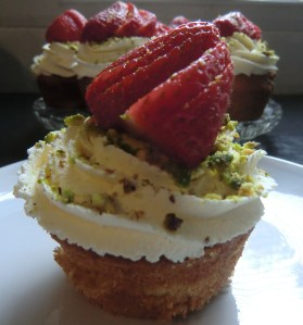 Cardamom Cupcakes with Strawberry and Pistachio