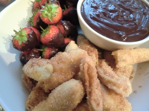 Churros and Strawberries with Caramel Chocolate Sauce