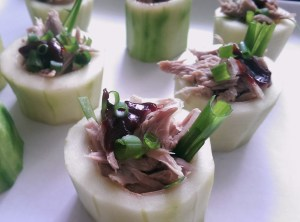 Braised Duck in Cucumber Cups