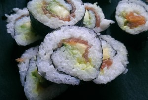 Smoked Salmon and Avocado Sushi Maki Rolls