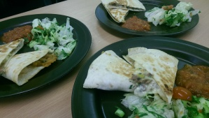 Quesadilla, Hot Salsa and Salad