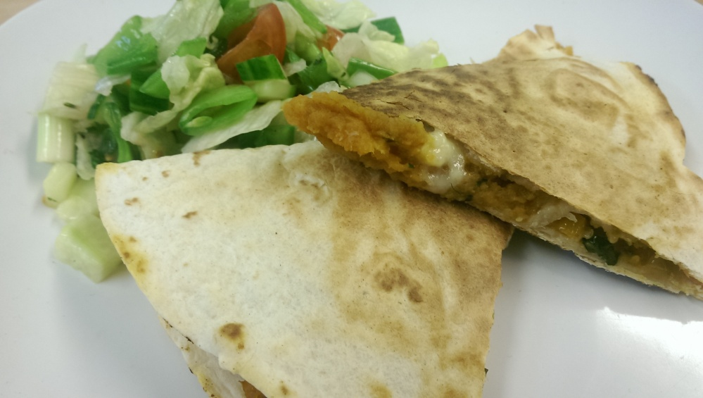 Quesadilla: With refried beans, sweet potato and tomato salsa dip (1/6)