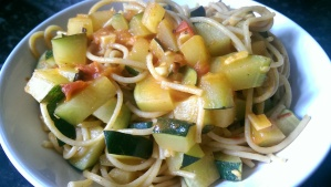 Courgette and Tomato Wholewheat Spaghetti